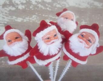 4 Vintage Santa Picks Vintage Flocked Chenille Santa Clause Picks Christmas Picks Vintage NOS
