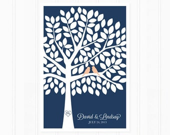 Wedding Guest Book Tree - Unique Guest Book Alternative in Navy and Peach for 125 Guests