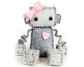 Sweet Plush Robot Girl in Gray with Pink Heart and Bow, Robot Plush, Stuffed Robot