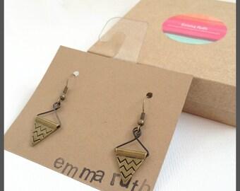 Triangle Earrings Bronze Geometric Earrings Bronze Dangle Earrings Everyday Earrings Minimalist Jewelry Simple Earrings