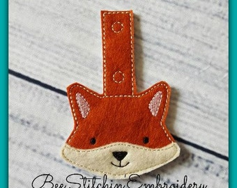 Fox ITH Snap Tab - 4x4 Embroidery Design - INSTANT DOWNLOAD