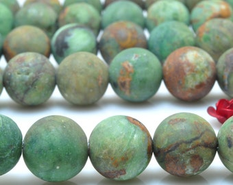 37 pcs of Natural Green Peruvian Opal,green stone matte round beads in 10 mm