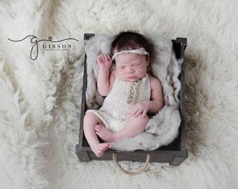 Newborn Knit Romper, Bonnet, Set, Photography Prop gift idea Newborn  size knit romper with tie back in mohair blend