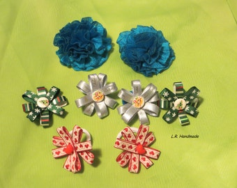 Hair Accessories Gift Set For Girls, Christmas gift, Christmas Flower hair elastics, hair elastics set, silver, blue, red, green