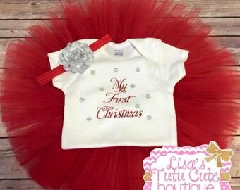 My first Christmas tutu set. Newborn tutu set. First Christmas photos. Photo prop. 1st Christmas. X-Mas tutu set. First christmas shirt,
