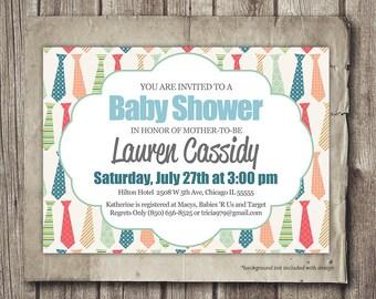 Baby Shower Invitation - Boy Tie Baby Shower Invite Card - Printable - Personalized Boy Baby Shower Invitation Printable