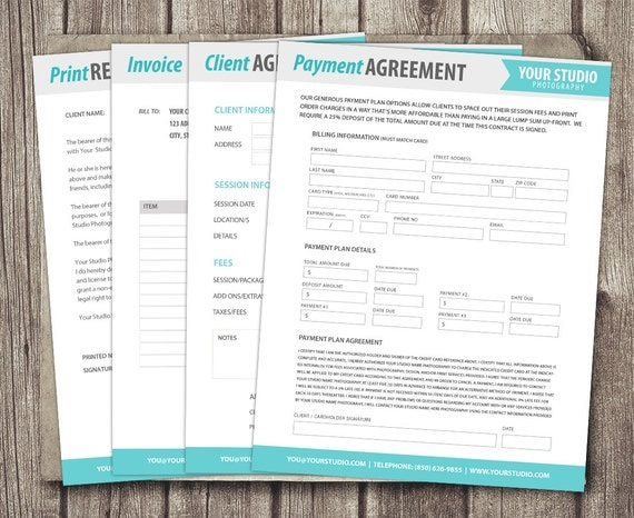 Photography Forms Template Kit Client Agreement Print Release - Etsy invoice template