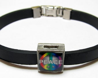 Rainbow Peace Link With Choice Of Colored Band Charm Bracelet