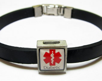 Diabetic Medical Alert Link With Choice Of Colored Band Charm Bracelet