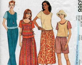 1990s Dress Pattern McCalls 9366 Tank Top Skirt Pants Womens Dress Sewing Patterns Size 8-10 uncut