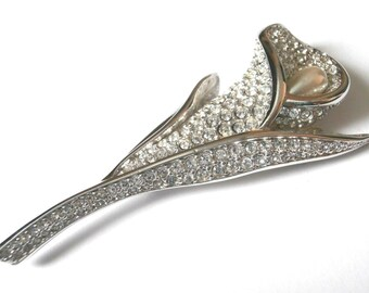 Swarovski Signed Pin Brooch Rhodium Plated Calla Lily with Crystals & Pearl (D)