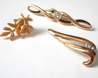 Set of 4  Signed or Numbered Pins Brooches Gold Plated New