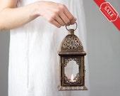 Set of 2 Moroccan lantern/ Unique Vintage Scheherazade Exotic Candle Holder/ Wedding Lanterns/ Moroccan decor/ Metal Candle Holder