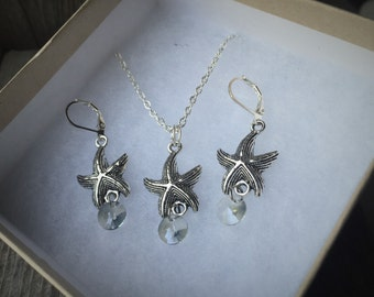 Tibetan Silver Starfish Necklace & Earring Set With Clear Crystal Accents
