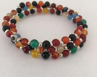 Semi-precious and Silver Memory Wire Bracelet