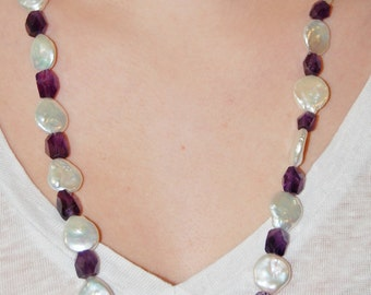 Amethyst and Coin Pearl Long Necklace