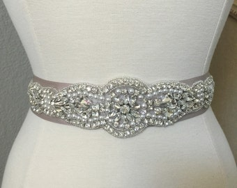 Bridal Sash - Wedding Dress Sash Belt - Crystal and Pearl Rhinestone Wedding Sash - Ivory Rhinestone Bridal Sash
