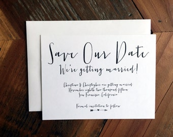 Save our Date, Calligraphy Style Font, Simple, Modern, Save the Date