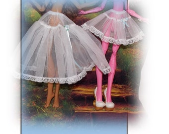 "Handmade 17"" Tall Monster High Clothes.  Petticoat Slips. White Slip for Monster High Big Sister. Monster High Lingerie"