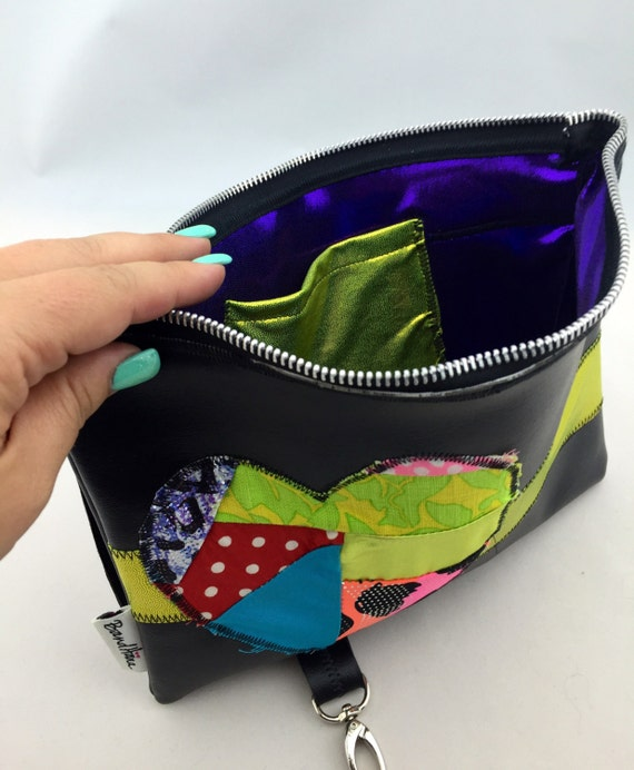 Black Faux Leather Fanny Pack/Utility Belt or Clutch w/ Patchwork Appliqué Heart and Purple and Neon Green Spandex interior by BandHäna