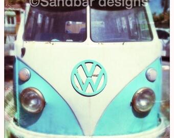 4 x 4 photo card-Robin's egg blue VW bus