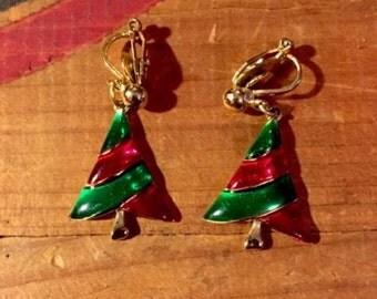 Christmas tree clip on earrings gold red green enamel
