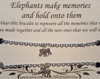 Best Friend Bracelets, 2 Friendship Bracelets, Elephant Memory Bracelet, Charm bracelet, Bridesmaid Gift, Christmas Gift, Best friend gift