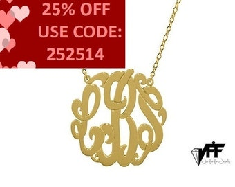 Monogram necklace - 0.8 inch New Style personalize gold monogram necklace gold plated 18k