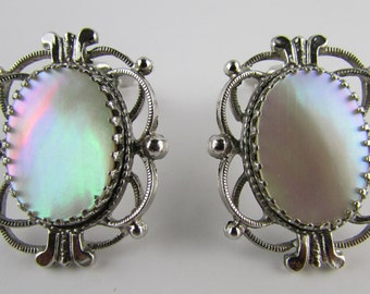 Whiting & Davis Jewelry, Whiting and Davis Earrings, Mother of Pearl Earrings, Victorian Revival, MOP Vintage Earrings, Free US Shipping