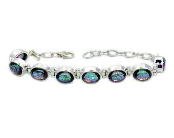 Incredible Mystic Topaz & .925 Sterling Silver Bracelet , AE66