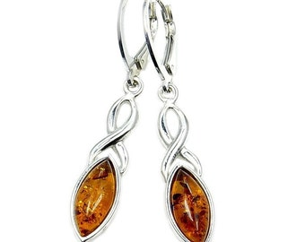 Natural Honey Baltic Amber Jewelry & Sterling Silver Earrings , AD63