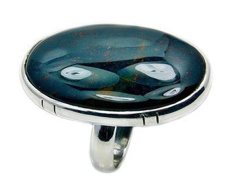 Large Rare Bloodstone & .925 Sterling Silver Ring Size 5.75 , Ad841