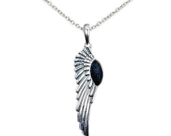 Angel Wings Volcanic Lava Rock & .925 Sterling Silver Pendant, AD607X16, AD607X18