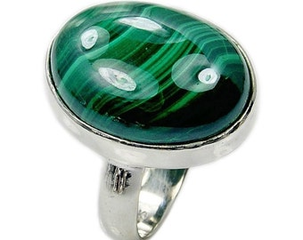 Queen of the Forest Malachite Ring & .925 Sterling Silver Ring Size 7 3/4 , AC529  Jewelry