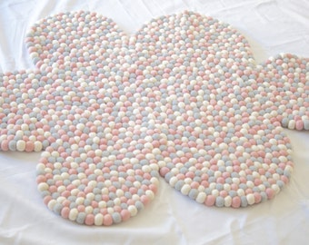 Felt Ball Cloud Rug 110cm Width - Kids or Nursery Rug - Floormat - Blush - In Stock