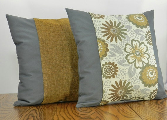 gray and brown pillow modern floral pillow by pamperedhomedecor. Black Bedroom Furniture Sets. Home Design Ideas