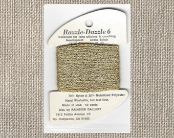 Rainbow Gallery - Razzle Dazzle 6 - Gold Bouclette Metallic - D301 - Cross Stitch Needlepoint - Ten Yards - By the Card