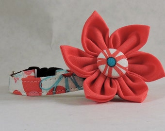 Cat Collar or Kitten Collar with Flower - Nearby Floral Aqua