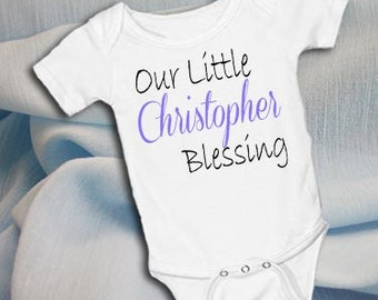 Our Little Blessing Personalized White onsie Snap bottom all in one bodysuit