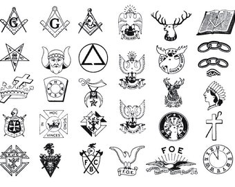 Masonic Emblems Clip Art Masonry Illustration Fraternal Emblems ClipArt 300dpi Printable Graphic Antique Digital Instant Download 0828