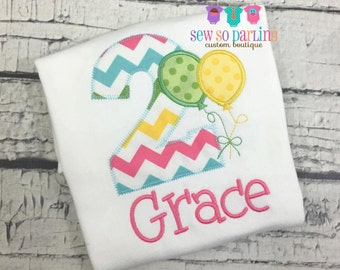 1st Birthday Balloon Outfit - Baby Girl Birthday Outfit - Balloon Birthday Outfit - Girl 2nd Birthday Shirt