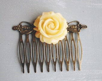 Yellow resin flower hair comb, bridal hair comb, hair jewelry