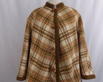 1960's Pioneer Wear Plaid Wool Poncho Cape Jacket