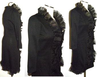 1960s 60's MOD RUFFLE DRESS / Black  Twiggy dress / GoGo dress / Perfect Party Girl / Vintage