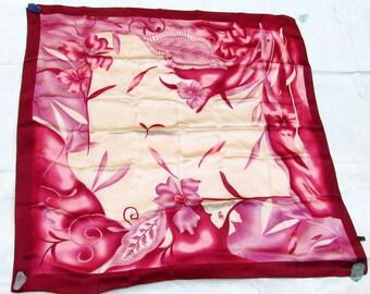 "Vintage Maroon Floral Silk Satin Scarf 34"" x 35"""