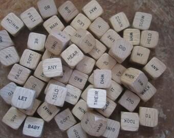 Dice Wood Word Game Wooden Dice Vintage - 29