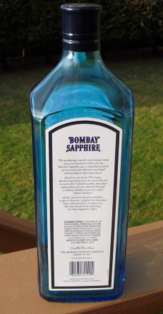 2 bombay sapphire gin liter empty recycled liquor bottles with screw cap for crafts. Black Bedroom Furniture Sets. Home Design Ideas