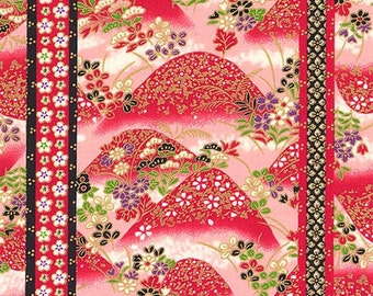 Hills of Flowers: Red/Gold Asian Fabric  (1/2 yd Increments)