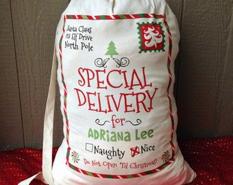 Personalized Santa Sack, Santa Sacks, Christmas Sacks, Christmas Stocking, Santa Claus Presents Bag, Add Your Child's Name