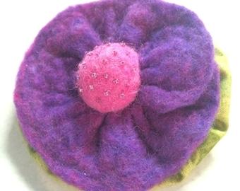 Hand Felted Purple Flower Brooch